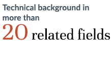Technical background in more than 20 related fields