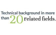 Technical background in more than 20 related fields.